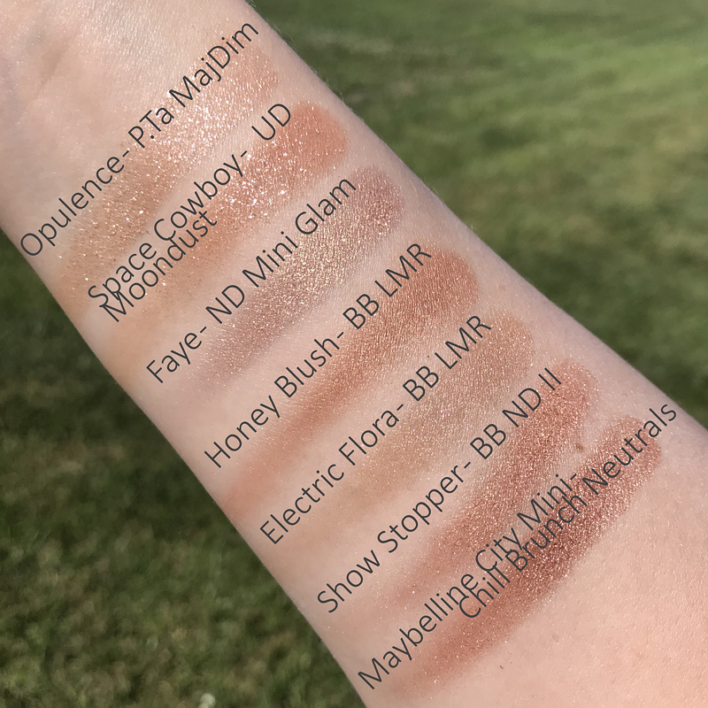 Patrick Ta Major Dimension shade Opulence swatched with other similar shades, dupe Space Cowboy Moondust Urban Decay, Faye from Natasha Denona Mini Glam, Honey Blush from Bobbi Brown Luxe Metal Rose, Electric Flora from Bobbi Brown Luxe Metal Rose, Show Stopper from Bobbi Brown Nude Drama II, shade from Maybelline City Mini Chill Brunch Neutrals