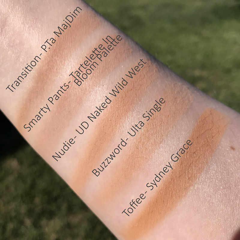 Swatched: shade Transition from Patrick Ta Major Dimension, Smarty Pants from Tartelette In Bloom palette, Nudie from Urban Decay Naked Wild West palette, Buzzword single shadow from Ulta brand, Toffee a single shadow from Sydney Grace