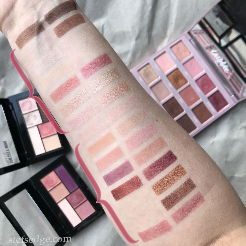 Tarte Tartelette Juicy palette compared to Maybelline City Mini palettes in shades Downtown Sunrise and Blushed Avenue.