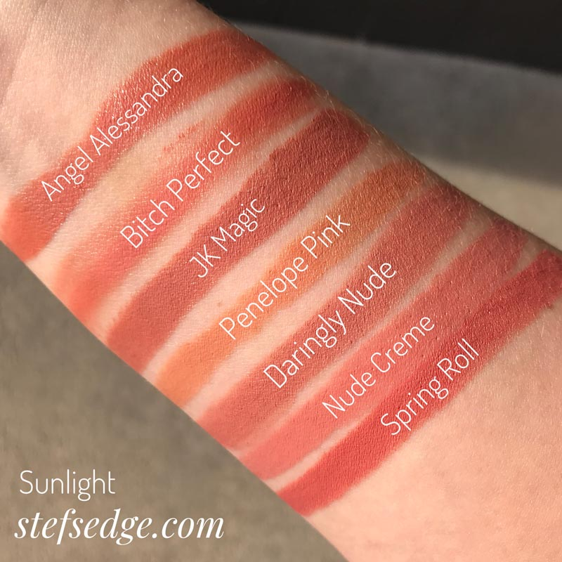 Angel Alessandra comparison swatches: Angel Alessandra (Charlotte Tilbury), Bitch Perfect (Charlotte Tilbury), JK Magic (Charlotte Tilbury), Penelope Pink (Charlotte Tilbury), Daringly Nude 655 (Maybelline), Nude Creme (Milani) and Spring Roll (Colourpop)