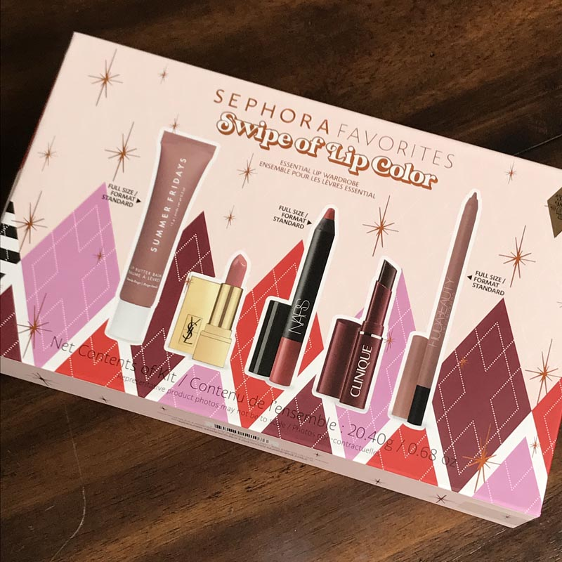 Sephora Favorites Holiday Set - Swipe of Lip Color featuring Summer Fridays balm, YSL lipstick, Nars Cruella pencil, Clinique Black Honey, and Huda lip pencil in Honey Beige