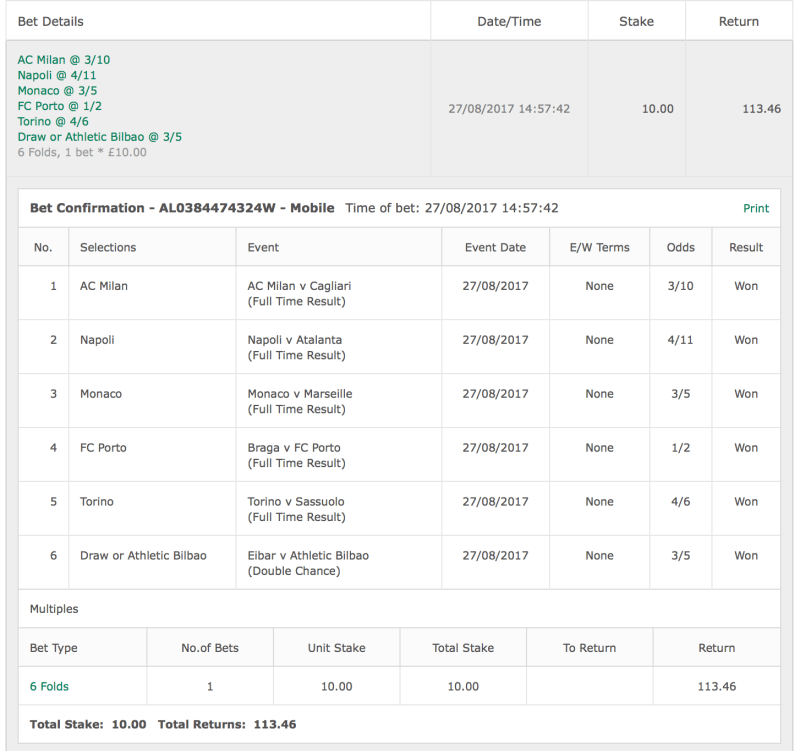WINNER Footy Accumulator European Leagues 6 Fold