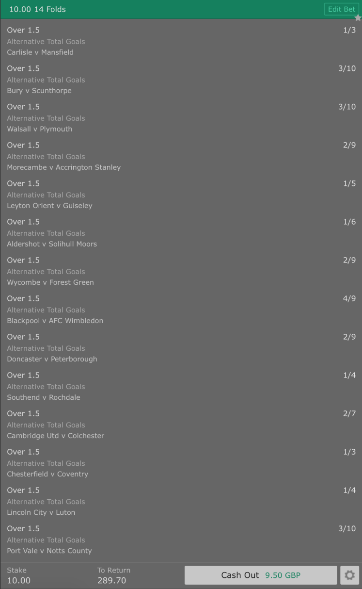 Footy Accumulator Over 1.5 Goals 14 Fold - 27/1