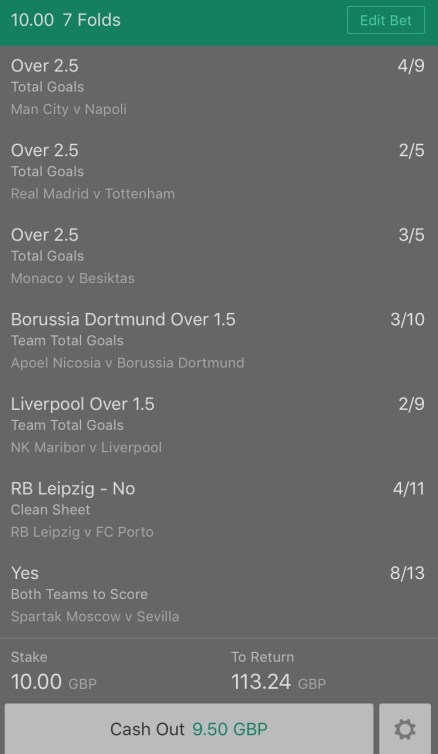 Footy Accumulator Champions League Group Stages - Round 3 - 7 Fold - 10/1