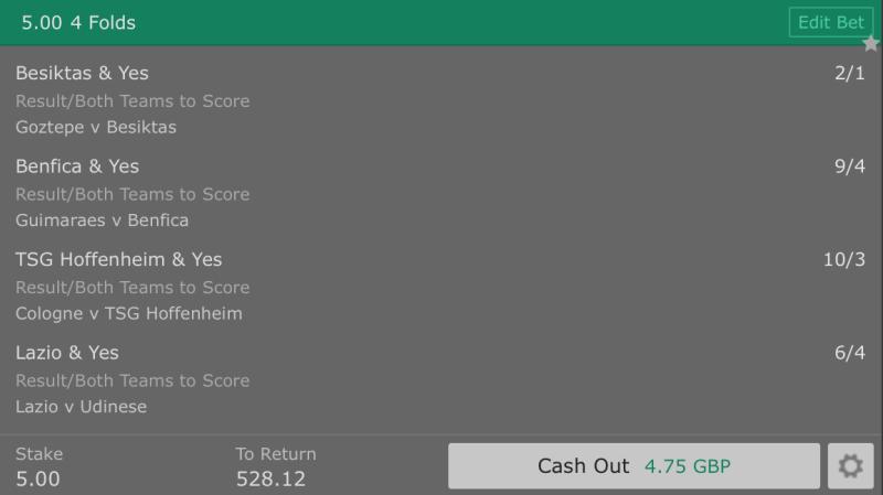 Free Betting Tips - European Football BTTS Result - 4 Fold - 104/1