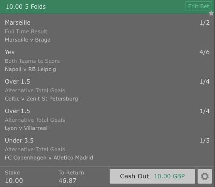 Footy Acca - Europa League - 5 Fold - 3.5/1