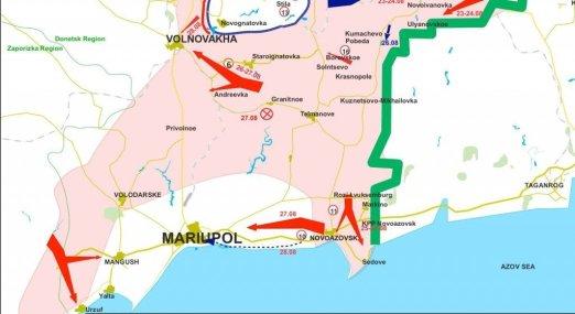 Utsnitt av separatistenes kart over kampene i Øst-Ukraina. Klikk for større versjon.