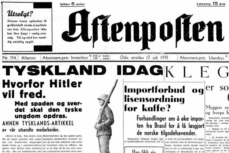 Aftenposten 17. juli 1935. (klikk på bildet for større utgave)