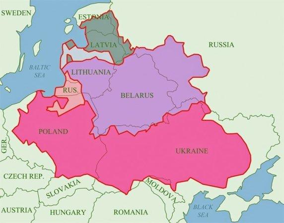 Det polsk-litauiske samveldet slik det framsto etter freden i Dywilino i 1618