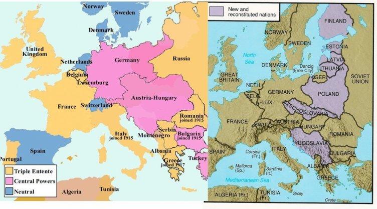 Til venstre: Europa før 1. verdenskrig. Til høyre: Europa etter Versailles-freden