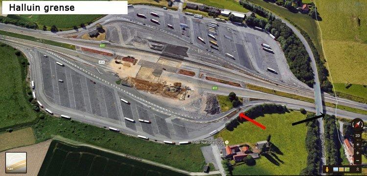 Bildet viser grensa i dag, sterkt nedbygd. Den røde pila viser hvor bua med den siste kontrollposten stod.