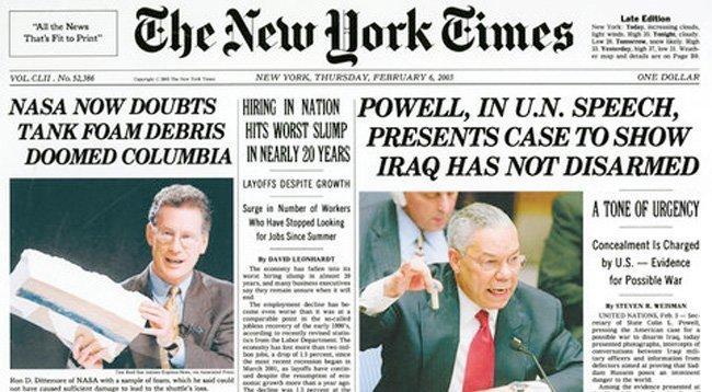 Da New York Times formidlet den falske nyheten om Iraks (ikke-eksisterende) masseødeleggelsesvåpen