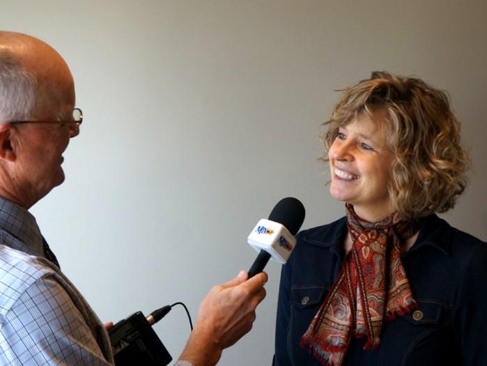 Val Hiebert being interviewed by Daryl Braun
