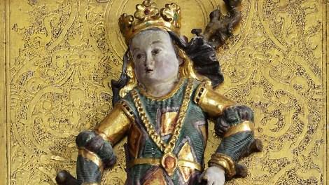 Hl. Afra, Ausschnitt, Flügelaltar, St. Margareth, Obervöls am Schlern, Foto: Privat