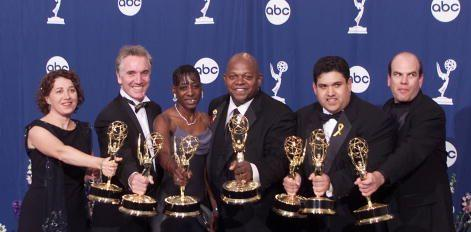 Nina Noble and friends accepting the Emmy for Outstanding Miniseries for HBO's The Corner in 2000. She is on far left.