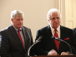 """Maryland Senate President Thomas V. """"Mike"""" Miller, and Maryland Speaker of the House of Delegates Michael Busch"""