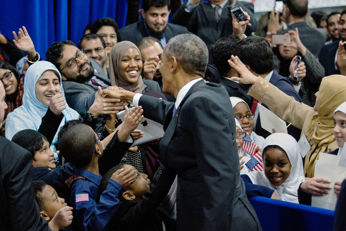 Obama's visit to Islamic Society of Baltimore (Photo Credit: New York Times)