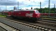 OHE 200085 ex DB 216 121-4 im Kasseler Vorfeld, z.Z. verliehen an Bahnlogistik 24 aus Dresden