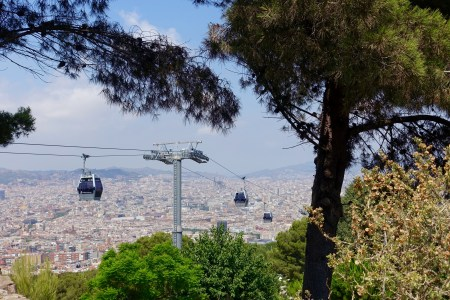 Cable cars bringing you to Castell de Montjuïc