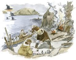 """Slik kan det ha sett ut på Hespriholmen i steinalderen. Kilde: """"Steinriket Bømlo"""""""