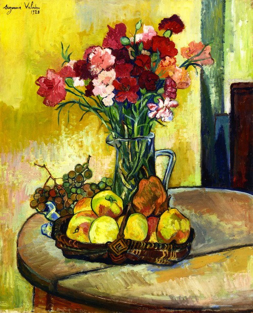 Still Life with Basket of Apples Vase of Flowers, 1928
