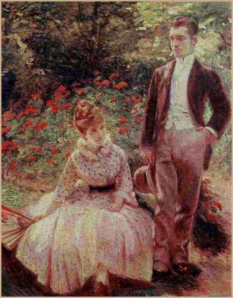 Marie Bracquemond - The Artist's Son and Sister in the Garden at Sèvres, 1890