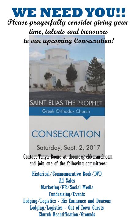 Volunteers needed for St. Elias Consecration
