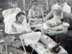 Unidentified family members on a summer afternoon