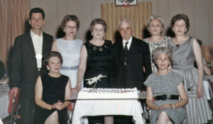 Fran is second from right standing with Irene on one side, and Uncle Luigi Alfonso, visiting from Italy, on the other. Ca 1960.