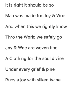 Image of part of Blake's poem 'Auguries of Innocence'