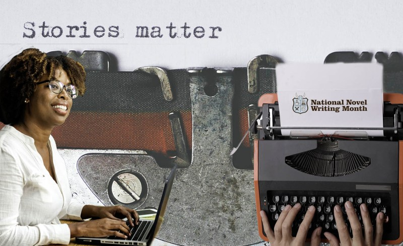 Montage for blog And Now the Days of Writerly Excess. Woman typing and typewriter background