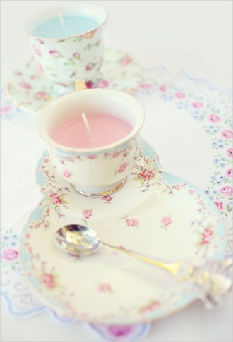 DIY on www.weddingchicks.com. Cool project, but collecting teacups and making my own candles? Sure. I have time for that.