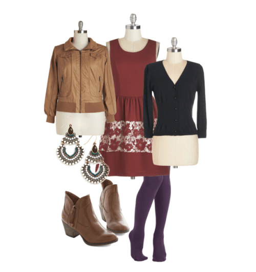I love this Simple To Foresee dress, layered with a soft cardi and tough-girl leather jacket. The boots tie everything together and I know, you're thinking, plum and cranberry? Just say yes!