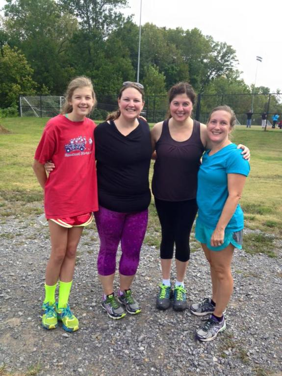 Dawn (far right) with Emily, me and Mary Eliza at the spring Makeshift 5k