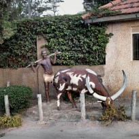 Traditional Bahima herdsman statue. Mbarara, Kiruhura district,