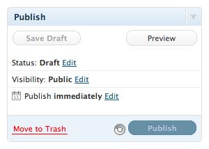 WordPress 3.1 Publish panel