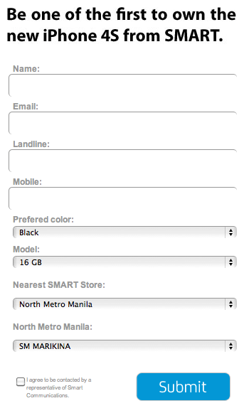 Smart iPhone 4S signup form