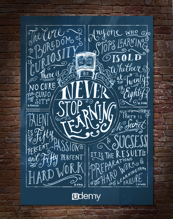 Never Stop Learning typographic poster by Biljana Kroll