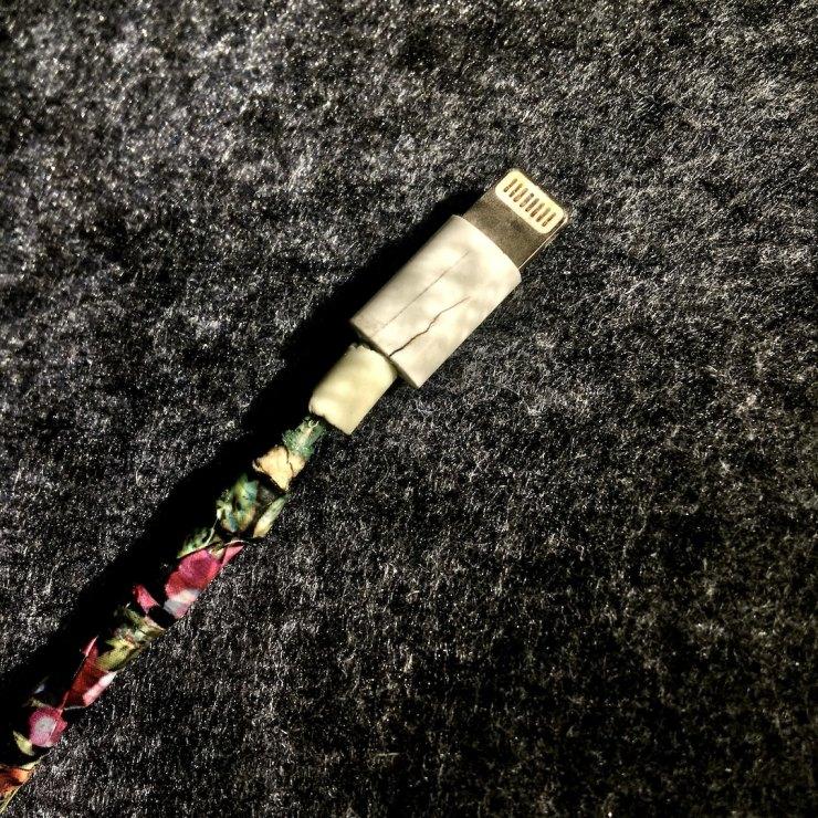 Broken Apple Lightning charging cable