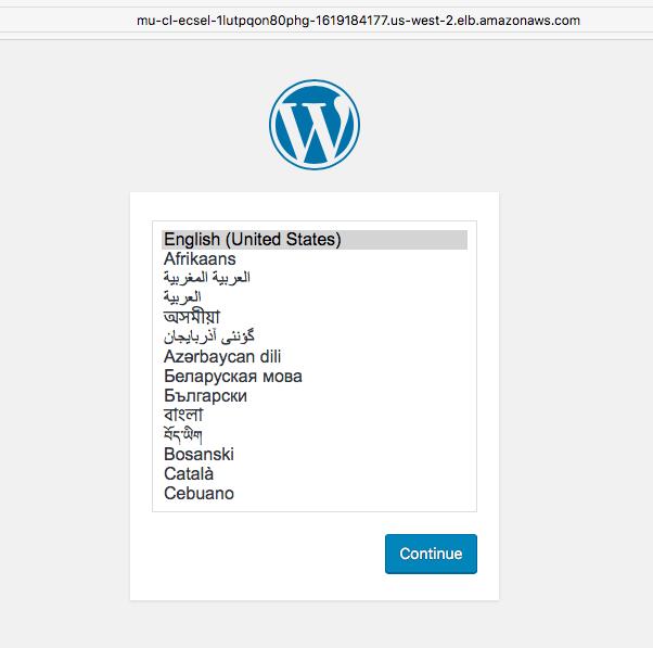 First WordPress admin initialization page