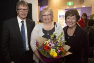 Questacon Director, Graham Durrant, Artist Eleanor Gates-Stuart and Professor Sue Stocklmayer, ANU