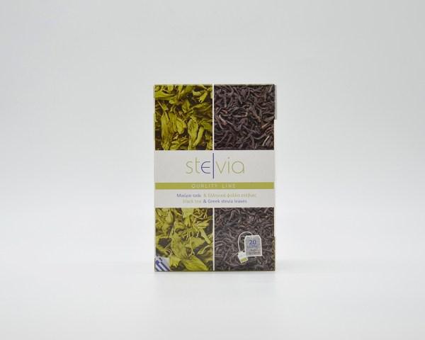 Mixture of Greek stevia leaves and black Ceylon tea
