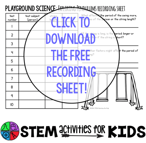 Playground Science Recording Sheet Download - STEM Activities for Kids