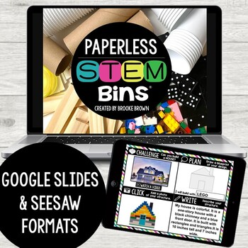 This file contains BOTH Google Slides STEM Bins and Seesaw compatible STEM Bins Activities in lower grades and upper grades formats. Both versions are ready to click and share immediately with students for use during distance learning at home!