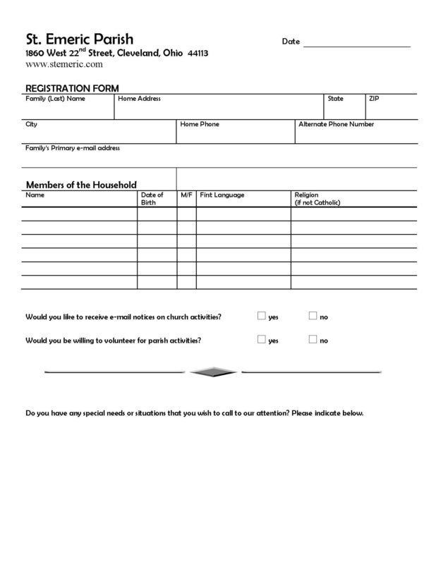 Szt Imre Registration Form