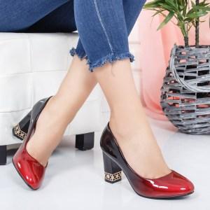 Pantofi eleganti dama negru si rosu cu toc gros si imprimeu pe top