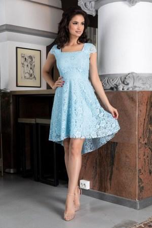 Rochie eleganta scurta asimetrica din dantela bleu cu maneci tip scoica