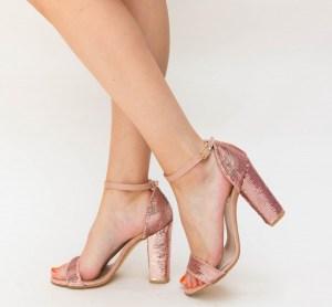 Sandale dama elegante din paiete roz cu toc gros inalt
