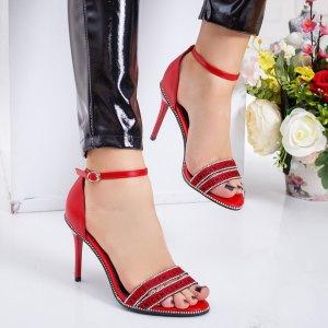 Sandale dama casual rosii cu pietricele si toc subtire inalt