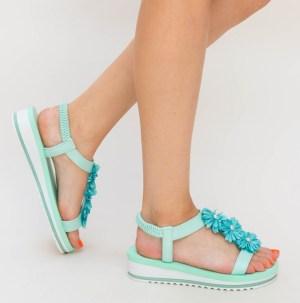 Sandale dama casual verzi cu floricele 3D in fata si talpa joasa